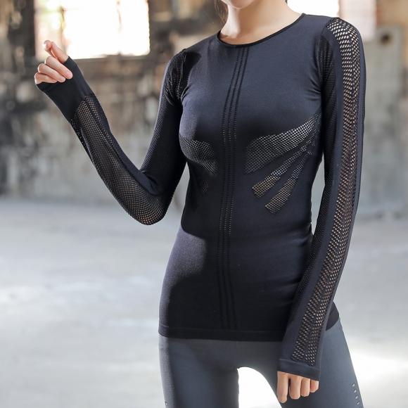 슬림바디 메쉬라인 긴팔 티셔츠(블랙) (S) [제작 대량 도매 로고 인쇄 레이저 마킹 각인 나염 실크 uv 포장 공장 문의는 네이뽕]