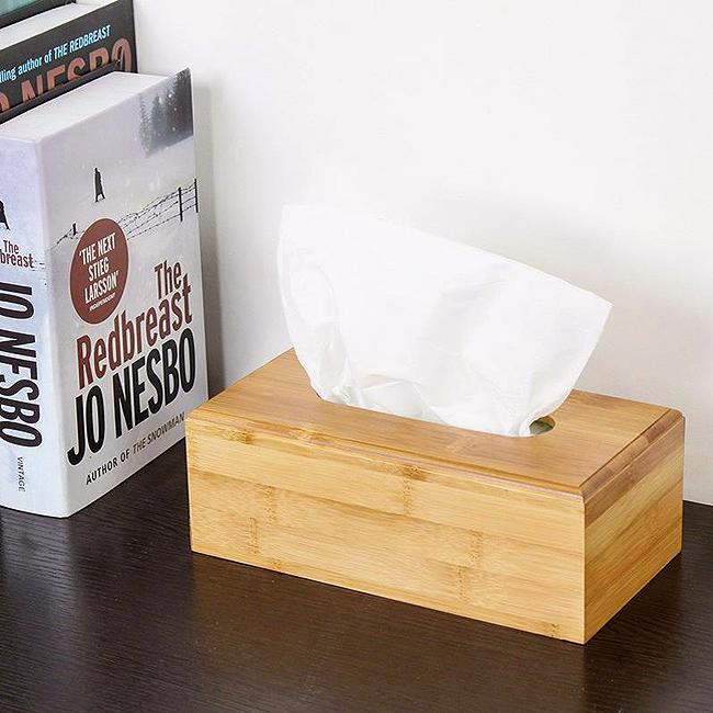 대나무 직사각 휴지케이스(23cm) [제작 대량 도매 로고 인쇄 레이저 마킹 각인 나염 실크 uv 포장 공장 문의는 네이뽕]