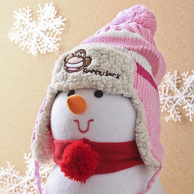 니트 귀달이 모자(분홍) (어린이용) [제작 대량 도매 로고 인쇄 레이저 마킹 각인 나염 실크 uv 포장 공장 문의는 네이뽕]
